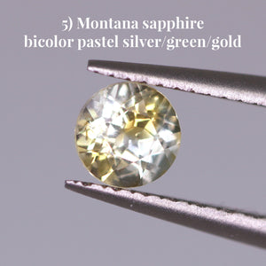 5) Montana sapphire bicolor pastel silver/green/gold