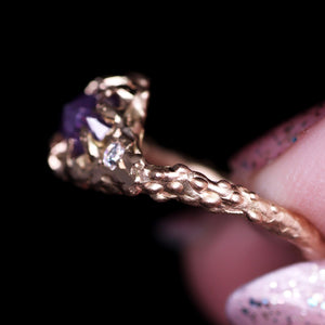 """Kira"": one of a kind hand-carved 14K peach gold sapphire & diamond crown ring"
