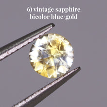 Load image into Gallery viewer, 6) vintage sapphire bicolor blue/gold