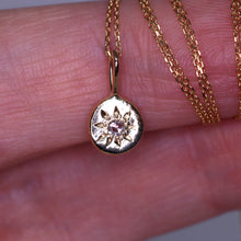 "Load image into Gallery viewer, ""Céleste"": 14K yellow gold and rosecut diamond engraved starry necklace"