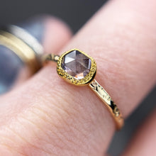 "Load image into Gallery viewer, ""Anemone"": 22K & 14K rosecut violet spinel milgrain ring"