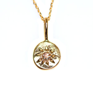 """Céleste"": 14K yellow gold and rosecut diamond engraved starry necklace"