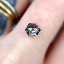 Load image into Gallery viewer, Create your own solitaire ring: 0.98ct Salt & Pepper hexagon rosecut diamond