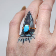 Load image into Gallery viewer, Morenci ring: create your own 14K rose or yellow gold Morenci turquoise statement ring or pendant
