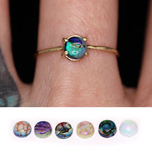 "Load image into Gallery viewer, ""Abigail"": 14K yellow or rose gold Sterling opal ring (sizes 3-12)"