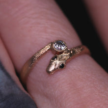 "Load image into Gallery viewer, ""Aila"" 14K yellow gold diamond snake ring (size 7.25–7.5)"