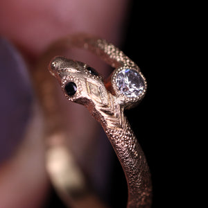"""Aila"" 14K yellow gold diamond snake ring (size 7.25–7.5)"