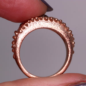 """Gloria"": one of a kind 14K rose gold and diamond crown ring (size 6.5)"