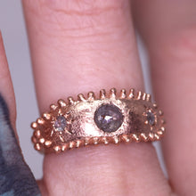 "Load image into Gallery viewer, ""Gloria"": one of a kind 14K rose gold and diamond crown ring (size 6.5)"