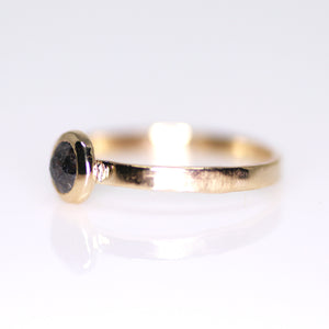 """Dusk"": 14K yellow gold rosecut black diamond solitaire ring"