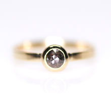 "Load image into Gallery viewer, ""Dusk"": 14K yellow gold rosecut black diamond solitaire ring"