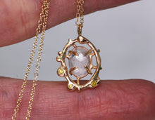 "Load image into Gallery viewer, ""Looking Glass"": 14K yellow gold, morganite, and yellow diamond pendant"