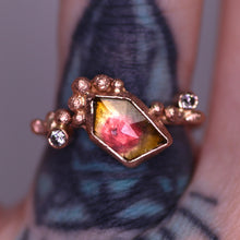 "Load image into Gallery viewer, ""Sabina"": 14K rose gold watermelon tourmaline & diamond ring"