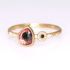 """Rosa"": 14K watermelon tourmaline and black diamond ring"
