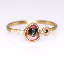 "Load image into Gallery viewer, ""Rosa"": 14K watermelon tourmaline and black diamond ring"