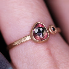 "Load image into Gallery viewer, ""Rosa"": 14K watermelon tourmaline and black diamond ring (size 7.5)"