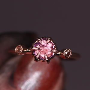 """Astara"": 14K rose gold sapphire engagement (or fancy right hand) ring; size 6"