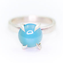 "Load image into Gallery viewer, ""Mirth"": Chalcedony cocktail ring with heavy talon claw prongs (size7; one of a kind)"