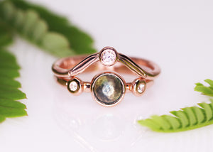 """Love psalm"": 14K rose gold Montana sapphire diamond ring bridal set (size 6.25)"