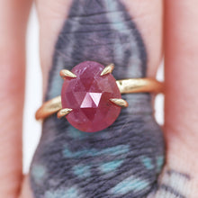 "Load image into Gallery viewer, ""Ehren"" ring: 14K rosecut pink sapphire solitaire ring"