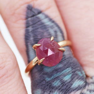 """Ehren"" ring: 14K rosecut pink sapphire solitaire ring"