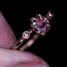 "Load image into Gallery viewer, ""Astara"": 14K rose gold sapphire engagement (or fancy right hand) ring; size 6"