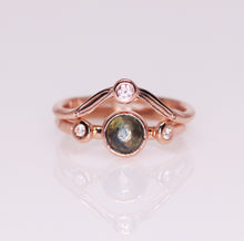 "Load image into Gallery viewer, ""Love psalm"": 14K rose gold Montana sapphire diamond ring bridal set (size 6.25)"