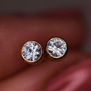 """Versailles"": 14K yellow gold blue Montana sapphire earrings with threaded posts/backs (~0.35 ct)"