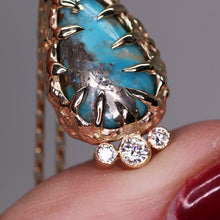 "Load image into Gallery viewer, ""Isa"": 14K yellow gold, rare Morenci turquoise & moissanite pendant"