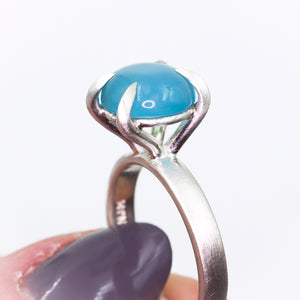 """Mirth"": Chalcedony cocktail ring with heavy talon claw prongs (size7; one of a kind)"