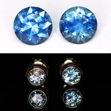 "Load image into Gallery viewer, ""Delphinium"": 14K top blue Montana sapphire earrings (1.0ct; one of a kind)"