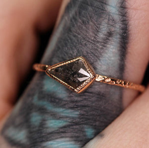 14K rose gold salt & pepper rosecut kite diamond ring, size 6