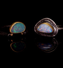 "Load image into Gallery viewer, ""Ava"": 22K gold & silver natural Australian opal ring; one of a kind (size 8)"