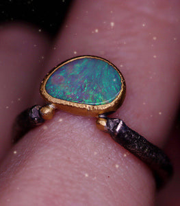 """Adin"": 22K gold & silver natural Australian opal ring; one of a kind (size 8)"