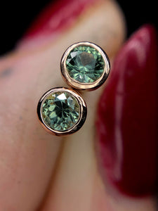 """Raine"" 14K rose gold & green Montana sapphire earrings (one of a kind)"