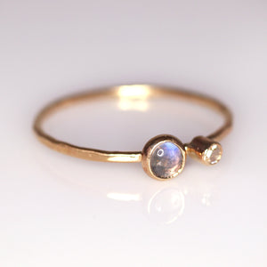 """Magnolia"": natural moonstone & diamond ring (size 7)"