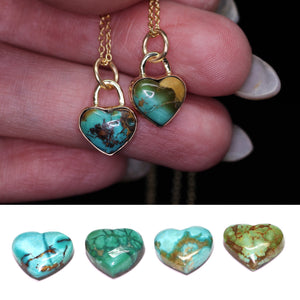 14K yellow gold & silver Royston turquoise heart necklace (Limited edition; made to order)