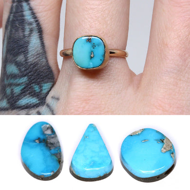 Morenci ring: create your own 14K rose or yellow gold Morenci turquoise statement ring or pendant