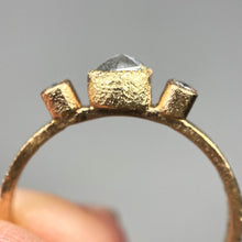 "Load image into Gallery viewer, ""Gesa"": 14K yellow gold hexagon salt & pepper diamond ring"