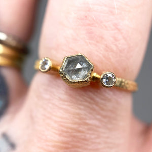 """Gesa"": 14K yellow gold hexagon salt & pepper diamond ring"