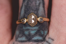 Load image into Gallery viewer, 14K yellow gold salt & pepper hexagon diamond ring (0.68ct total; size 6)