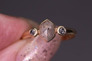 14K yellow gold salt & pepper hexagon diamond ring (0.68ct total; size 6)