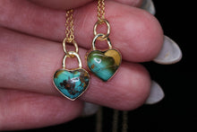 Load image into Gallery viewer, 14K yellow gold & silver Royston turquoise heart necklace (Limited edition; made to order)