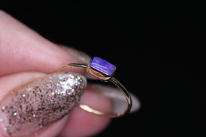 """Victoria"" ring: 14K (yellow/rose) Australian opal ring (size 7)"