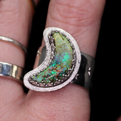 Snowy moon and stargazer statement ring (size 8.5–9); one-of-a-kind