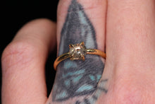 Load image into Gallery viewer, 14K yellow gold salt & pepper rosecut diamond claw prong ring