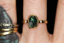 "Load image into Gallery viewer, ""Sylvan"": 14K gold and rosecut tourmaline and SI white diamond ring (size 7)"
