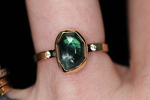 """Sylvan"": 14K gold and rosecut tourmaline and SI white diamond ring (size 7)"