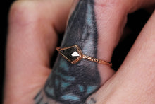 Load image into Gallery viewer, 14K rose gold salt & pepper rosecut kite diamond ring, size 6