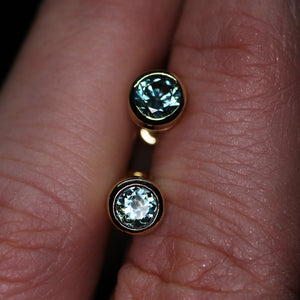 """Delphinium"": 14K top blue Montana sapphire earrings (1.0ct; one of a kind)"